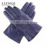 Fashion retro style deep blue sheep genuine leather gloves for women