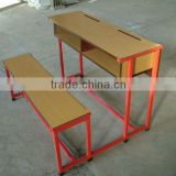 Double Wooden Steel Frame School Student Desk with Bench