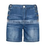stylish fancy girls relaxed high waist sex denim button jeans shorts for women half pants jeans blue wash
