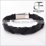 Wholesale Stainless Steel Strap Leather Bracelets For Men with Stainless Steel Clasp