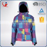 Fashion winter windproof waterproof nylon colorful jacket ski woman