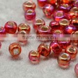 11/0 Glass Seed Beads, Transparent Lustered, OrangeRed Micro Beads(SEED-Q012-F637)