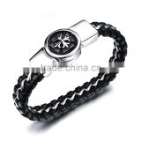 Stainless Steel Braided Buckle Black Cross Mens Leather Bracelet