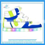 cute blue high top kids LED shoe, recharging kids LED skate shoe, OEM KIDS LED shoe with good price