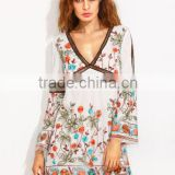 Dresses latest women girl design fashion photos Multicolor Bell Sleeve V Neck Embroidered Dress