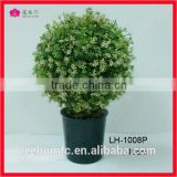 Potted Plant Plastic Table Small Plant Pots Artificial Grass Ball Tree with small white flower Comfrey Simulation