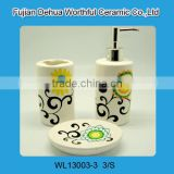 Fashionable ceramic bathroom accessories set modern with flower painting                                                                                                         Supplier's Choice
