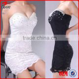Sexy Night Club Dress Beading Decorative Lace Transparent Low Breast Sheath Over Hip Bare-Back Strapless Sexy Club Dress