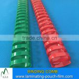 Colorful 19 21 Rings Plastic Comb Binding Spines Menu Book Binding Used PVC Binding Comb Manufacturer