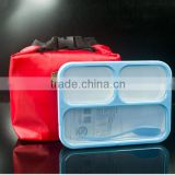BPA Free Plastic Kids Lunch Box 3 compartment, Leak-Proof Plastic Food Container With Lunch Bag