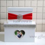 Elegant white wedding money box in handmade with photo frame