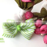Apple Green Stripe Baby Bow Ties Grosgrain Ribbon Baby Hair Bow
