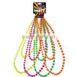 "60"" NEON LONG SHINY ROPE 7MM BEAD NECKLACE CHOICE OF COLOURS MARDI GRAS FANCY DRESS"