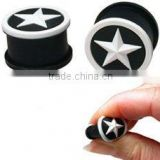 wholesale silicone flexible ear plug with a white raised star design ear jewelry ear piercing