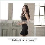 High-waist sleeveless women dress Sexy fashion black party dress with fishtail hem and V-neck