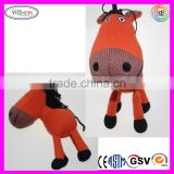 A584 High Quality Soft Knitted Red Horse Animal Crochet Stuffed Toys
