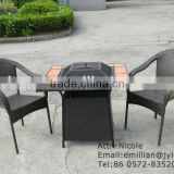 Outdoor living Garden Patio table and chair set with fire pit and 2 pe rattan stacking chair