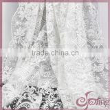 2015 High quality charming beaded and sequins embroidery white lace Fabric for wedding/bridal dress and gown