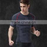 seamless gym apparel men t-shirt print short sleeves with comfortable wicking fibres feature from Fujian