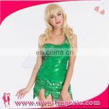 Forest living Clothing santa wearing green dress Christmas sequin elf wings costume