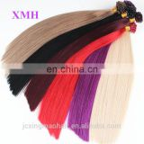 Nail tip keratin hair extensions best tangle free non remy double drawn hair