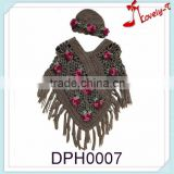 Wholesale hot sale lovely T fashion flower embroidery kids knitted poncho sweater with tassele and hats