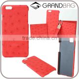 high quality luxury ostrich skin leather Phone Case Back Cover for Iphone 6s or Iphone 6s Plus