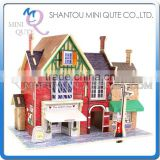 Mini Qute 3D Wooden Puzzle British UK Clothing Shop architecture famous building Adult kids model educational toy gift NO.F134