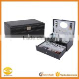 Black Leather Jewelry Box Watch Organizer Storage Case with Lock & Mirror,leather jewelry display box, designer jewelry box