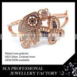 Amazing 925 silver jewelry material gold plated imitation bangles 2014 custom butterfly bangle
