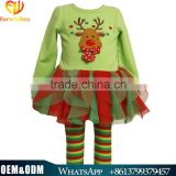 Latest autumn clothing sets wholesale boutique long sleeve top with red ruffles and stripe pants girls christmas sets