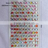 Shining Colorful Crystal sticker sheet, Self-adhesive stones for moible phone decoration