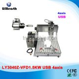 USB port 1.5KW 4 axis CNC 3040 mini metal cnc milling machine with limit switch for wood metal aluminum
