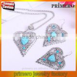 Hot sales Jewelry Crystal Tibetan Silver Turquoise Retro Heart Necklace And Earring Sets