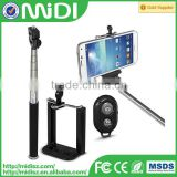 2014 hot seller, wireless bluetooth selfie stick with remote control for iphone 6 for samsung