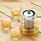 Home Unique design fashionable Heat resistant Borosilicate Glass teapot with stainless steel strainer