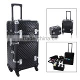 Aluminum Rolling Makeup Case 2 in 1 Cosmetic Artist Train Case Beauty Salon Organizer 4 Wheels Lift Handle