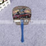 2016 summer hot selling plastic pp advertising hand fan with long handle