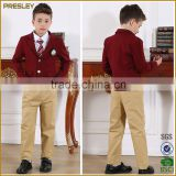 Fashion African Design Boy's Gril's Navy Blue Red School Uniform Blazer Suit With Embroidery Logo