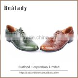 (E1133-3) Classic design crocodile leather comfortable flat casual lace up oxford lady leather shoes with punching holes