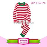 Baby clothes wholesale long sleeve christmas pajamas 2 pcs clothing sets children cotton stripe top and pant set