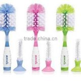 Suction on bottom PP plastic baby bottle cleaning brush with small nipple brush                                                                         Quality Choice