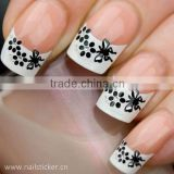 New glitter french manicure nail design wholesale butterfly rose flower nail art sticker nail suppliers