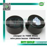 cheaper 3v 75DB 40mm wire piezo buzzer FBPB4020