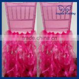 CH005N China discount wholesale beach elastic fuchsia christmas ruffled hot pink chair cover