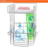 hanging metal wire 2 tier storage bathroom basket