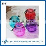 TN14 hot selling High quality pumpkin Glass candle holder with iron handle and lid wholesale