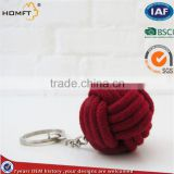 handemade cottom rope with wood bead keychain /safe keychain