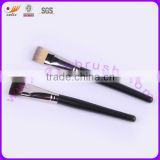 Squre Synthetic Hair Matte Black Wooden Handle Cosmetic Fan Brush