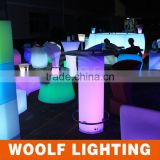 2014 Good Sales Shining Colourful LED Glowing Pillar Table for Party Events with Glass and Stainless Steel Leg